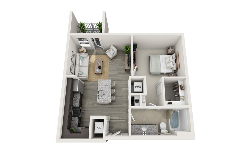 The Folly - 1 bedroom floorplan layout with 1 bath and 713 square feet.