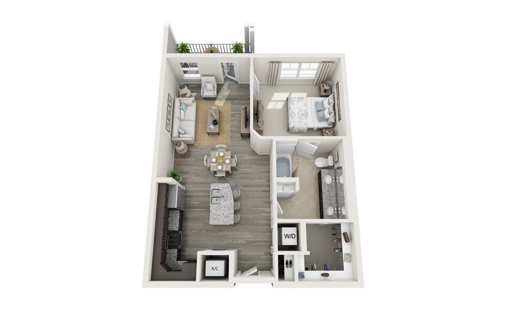 The Moultrie - 1 bedroom floorplan layout with 1 bath and 833 square feet.