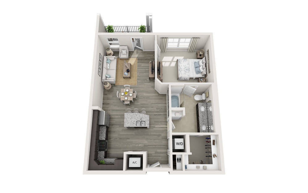 The Sumter - 1 bedroom floorplan layout with 1 bath and 868 square feet.