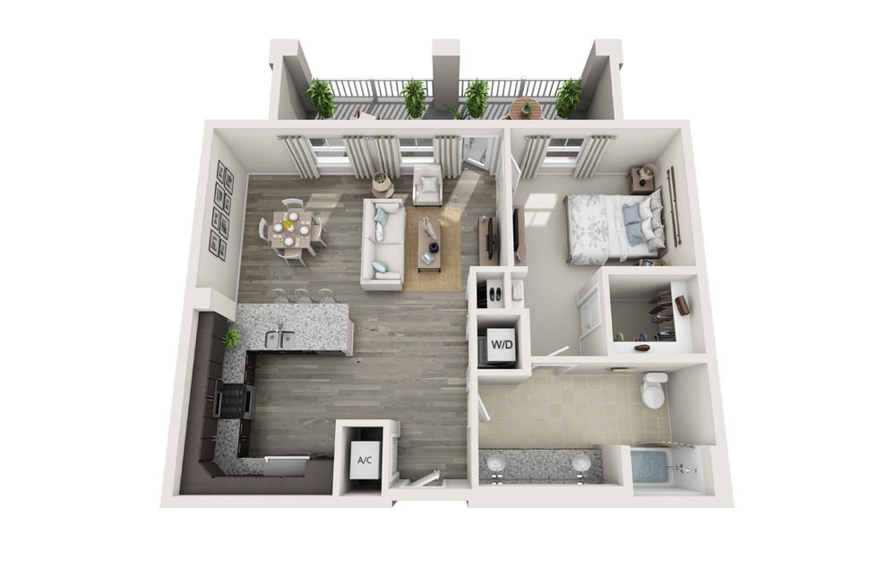 The Morris - 1 bedroom floorplan layout with 1 bath and 899 square feet.