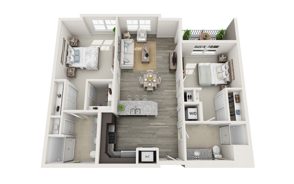The Sullivan - 2 bedroom floorplan layout with 2 baths and 1196 square feet.