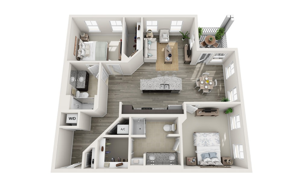 The Essex - 2 bedroom floorplan layout with 2 baths and 1208 square feet.