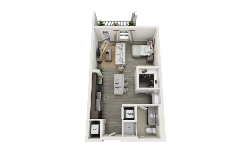 The Grace - Studio floorplan layout with 1 bath and 601 square feet.